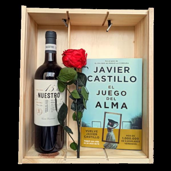Caja de vino con libro y rosa